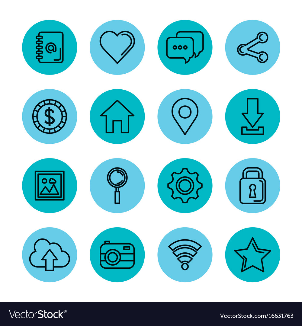 Blue icons set social media network application vector image
