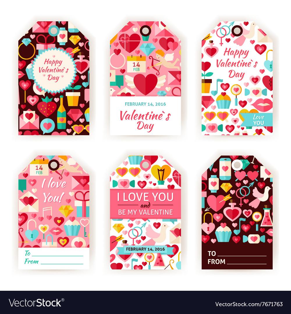 photograph regarding Valentine Labels Printable named Delighted Valentine Working day Present Tag Template Flat Established