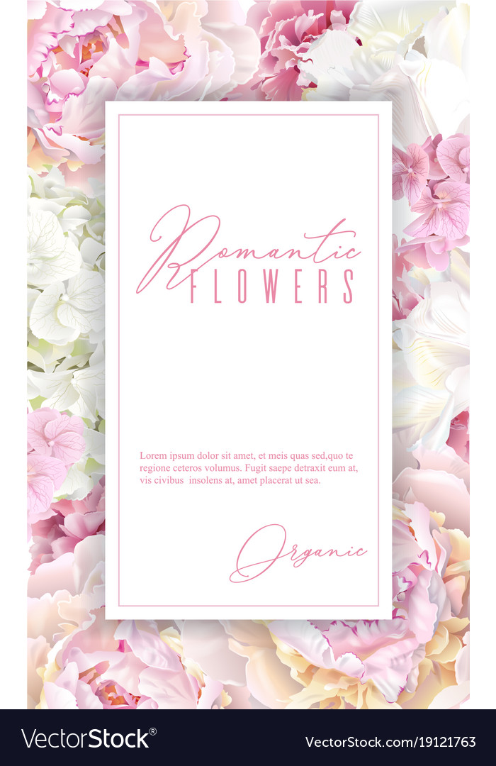 Peony pink vertical frame Royalty Free Vector Image