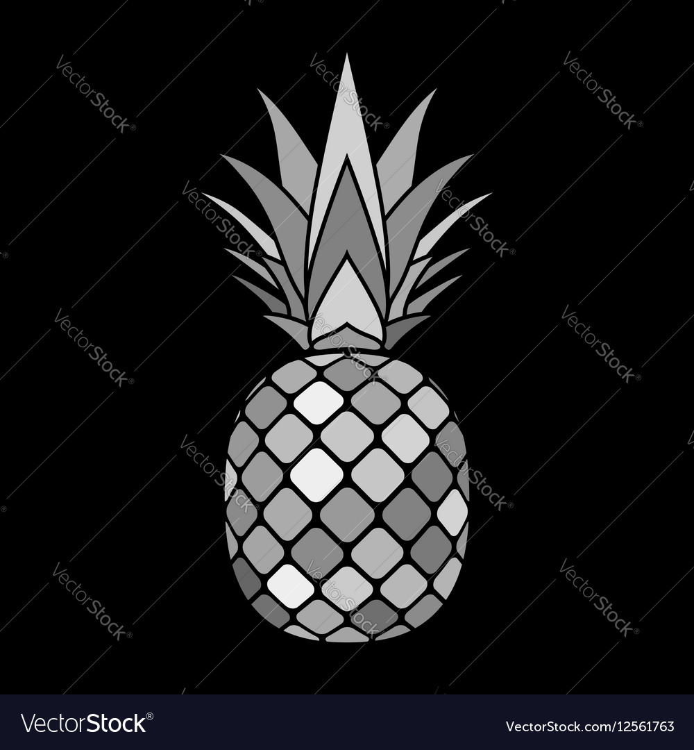 Pineapple gray icon vector image