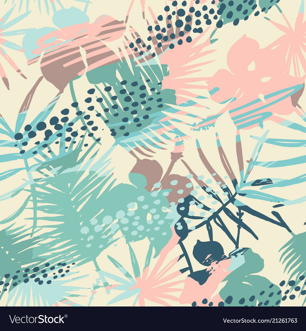 Seamless exotic pattern with tropical plants and