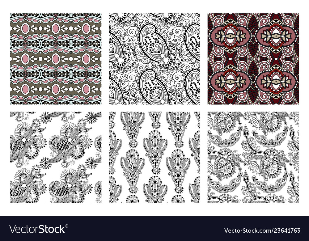 Set of hand drawing ornate seamless flower paisley