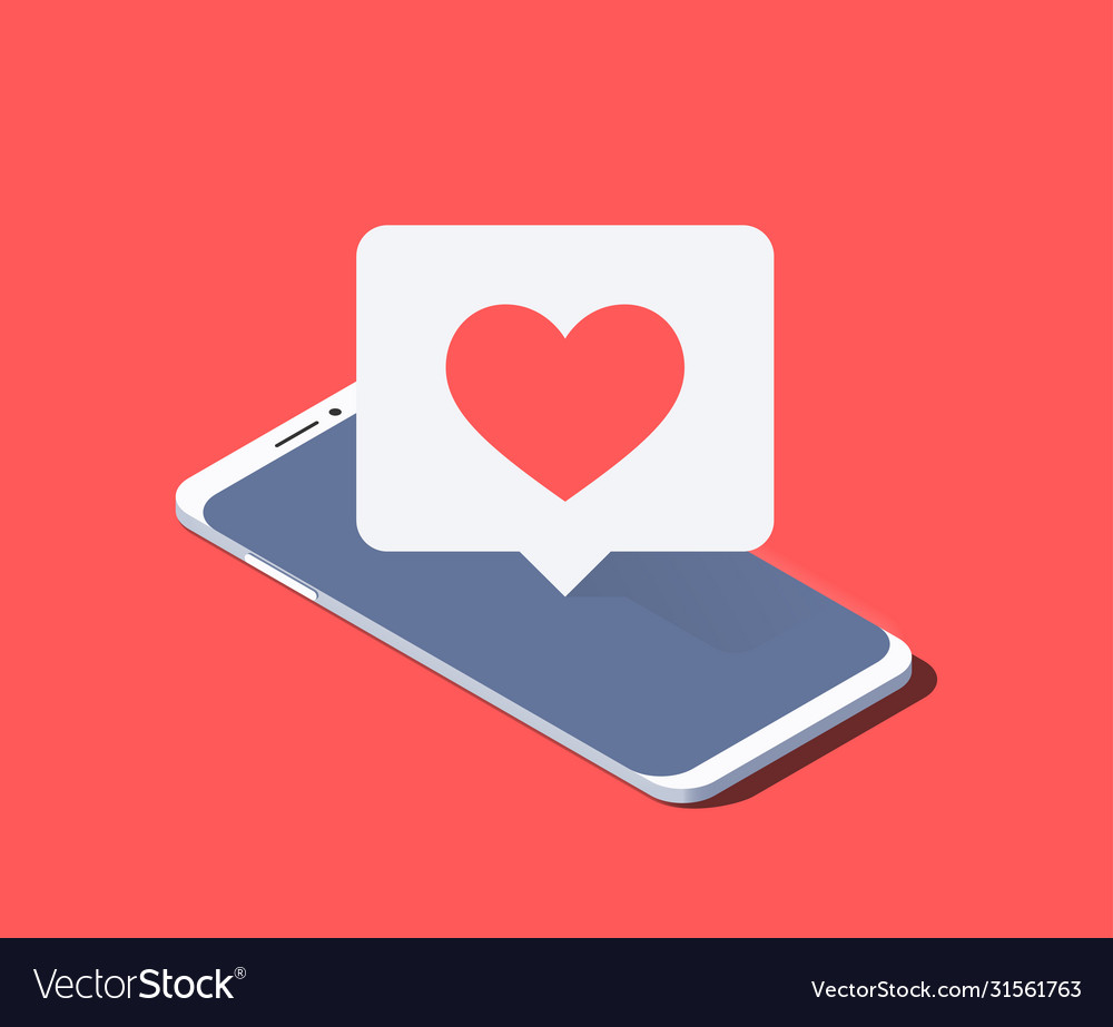 Smartphone and push notification with heart