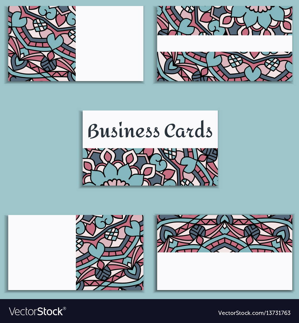 Template business cards with oriental pattern and