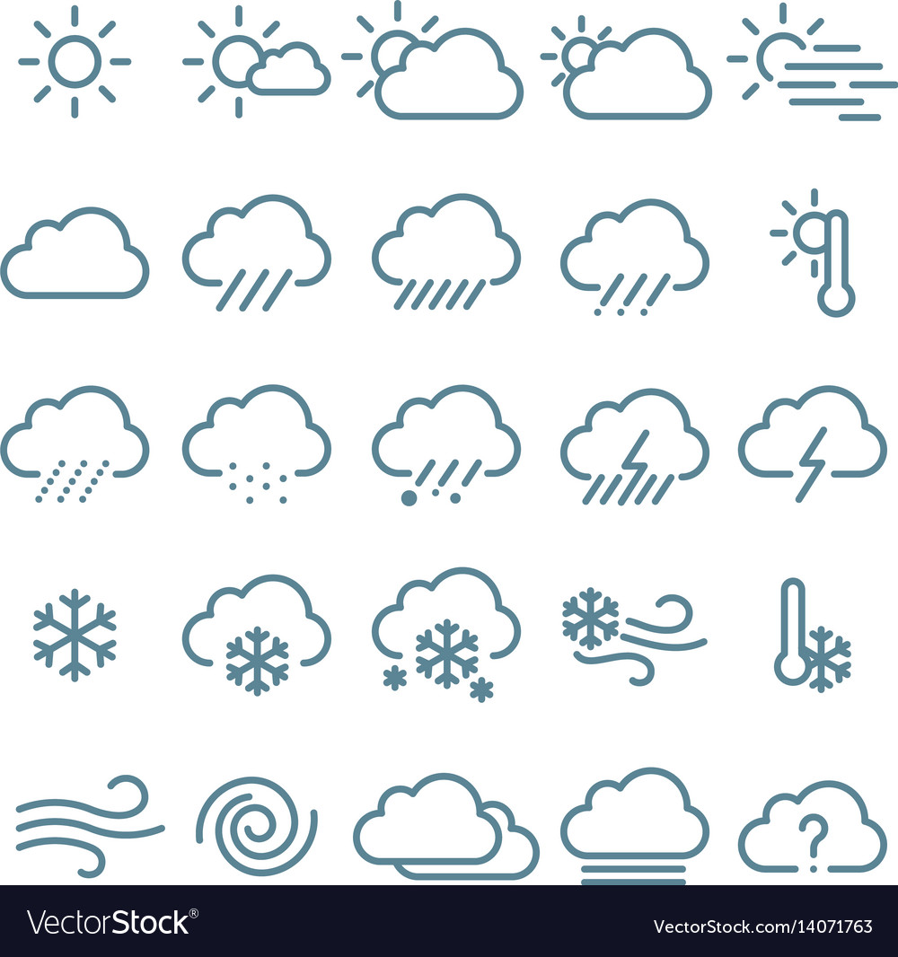 Thin line weather icon set