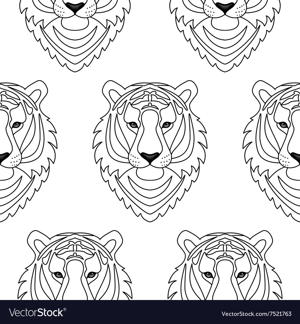 Tiger seamless pattern vector image