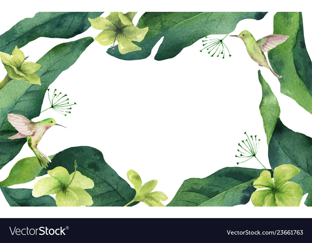 Watercolor card tropical leaves