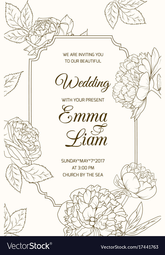Wedding invitation card template rose peony flower vector image