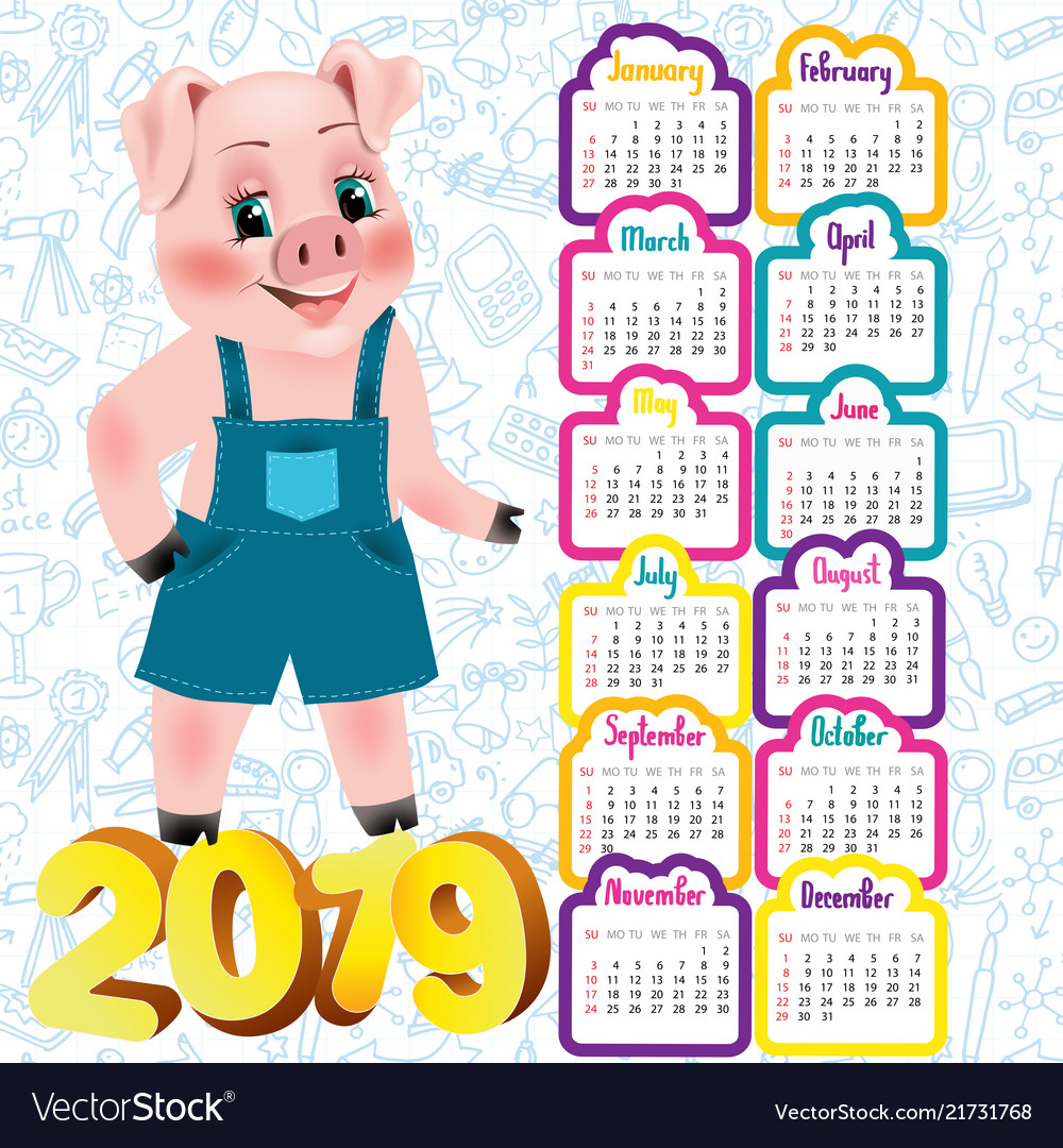 2019 calendar with cute pig