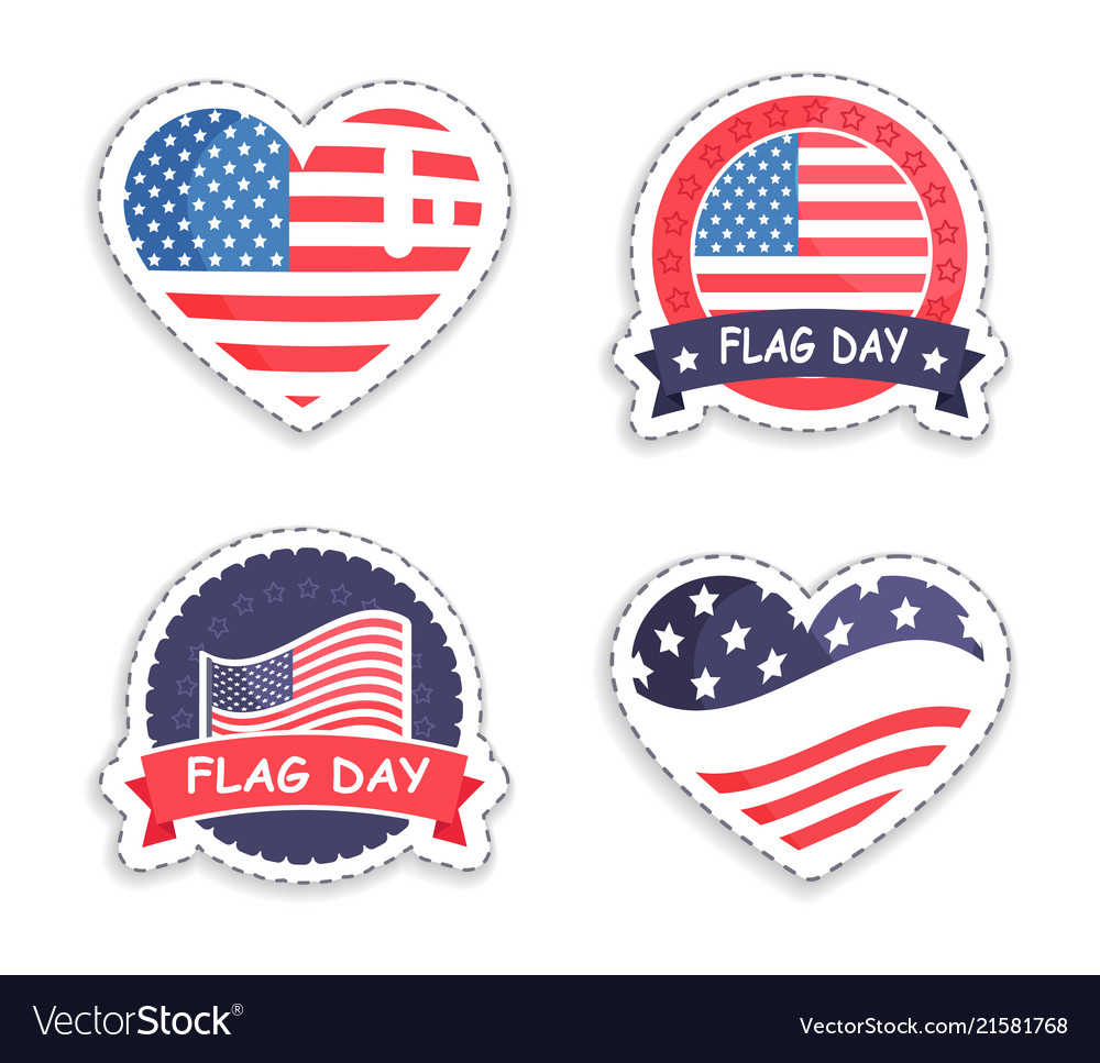 American flag day sticker in round and heart shape