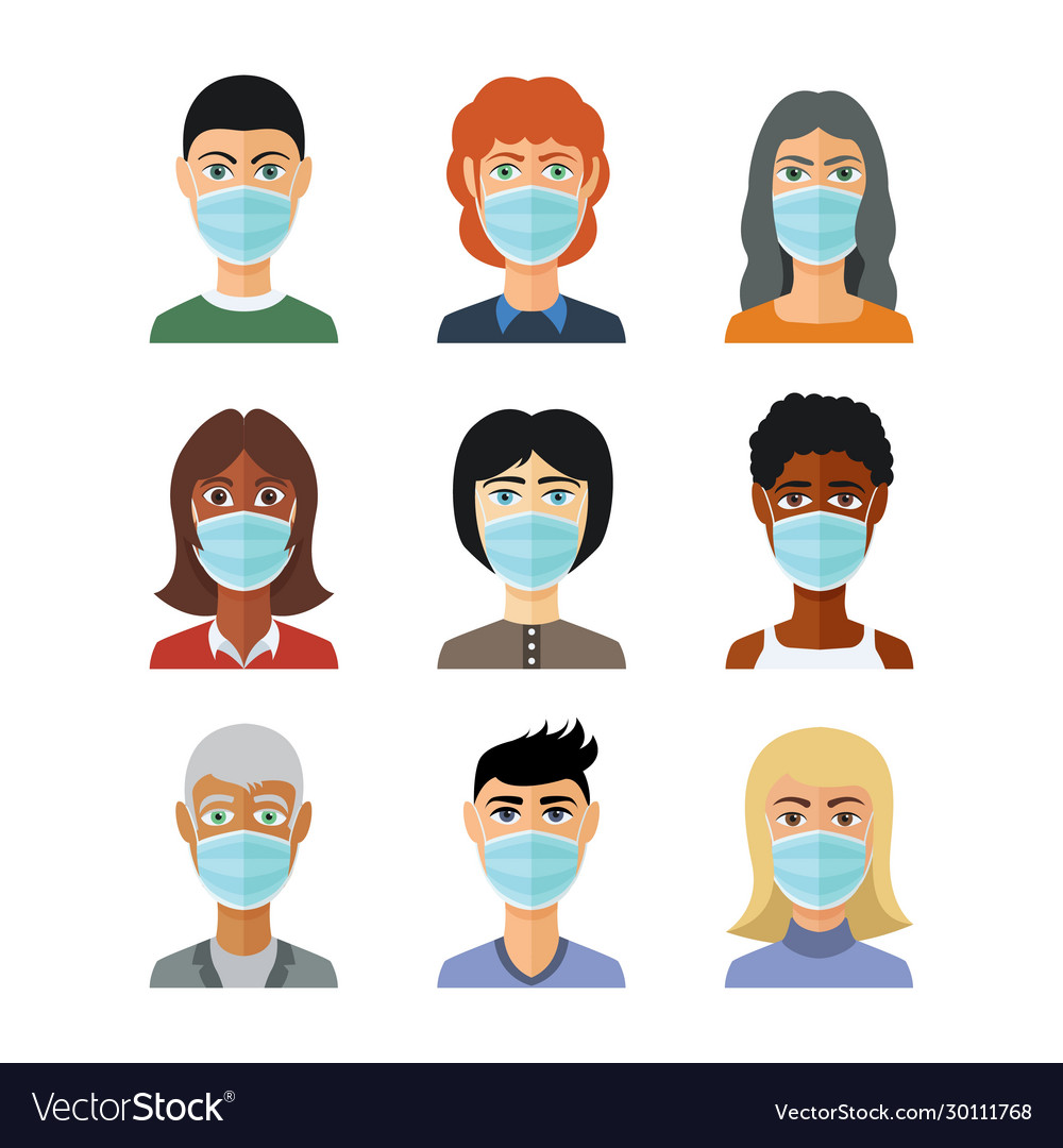 Avatars in medical masks in flat style