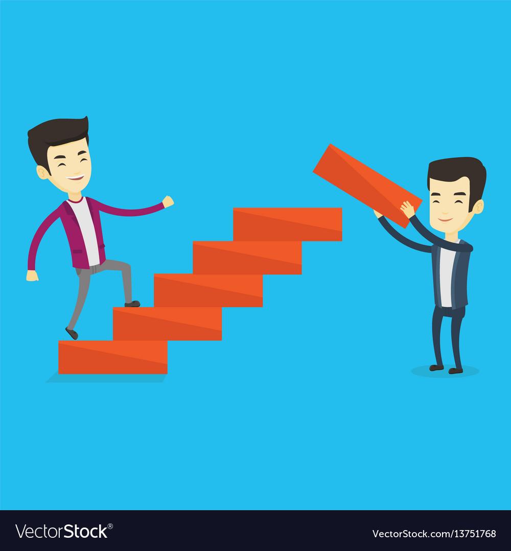 Business man runs up the career ladder