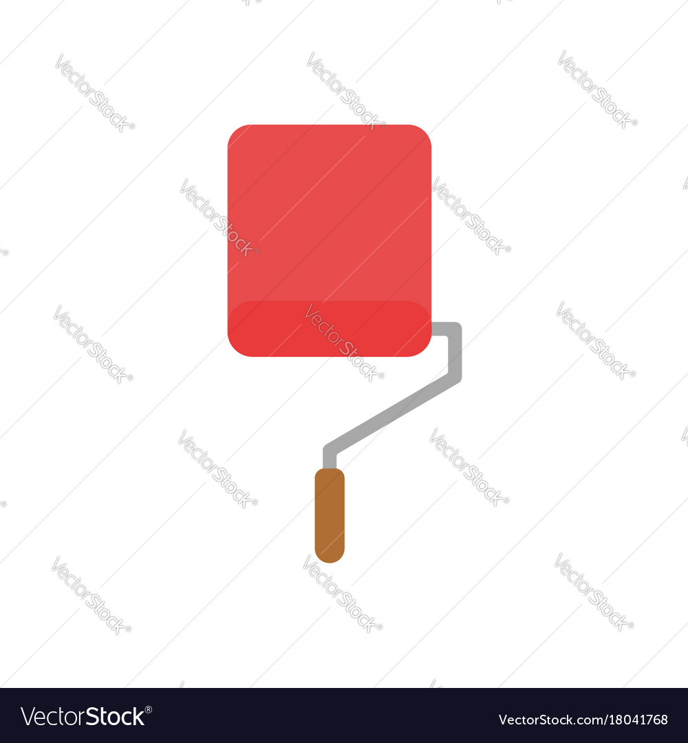Flat design style concept of roller paint brush