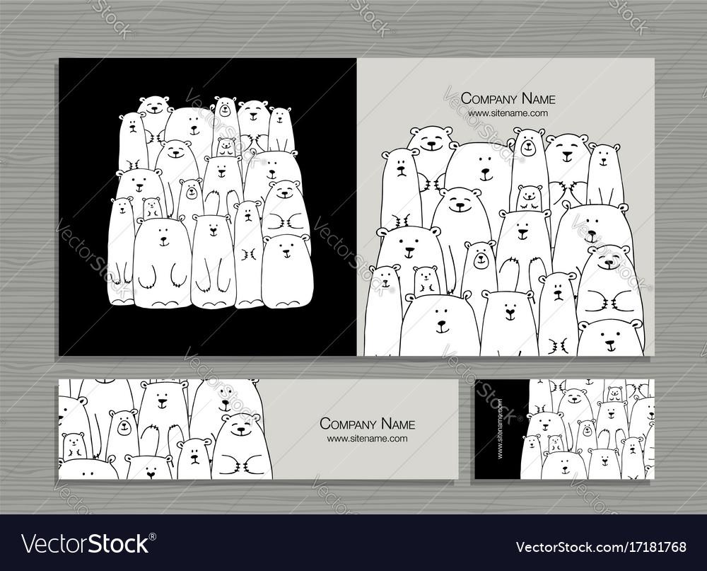 Greeting Cards Design Polar Bears Family Vector Image