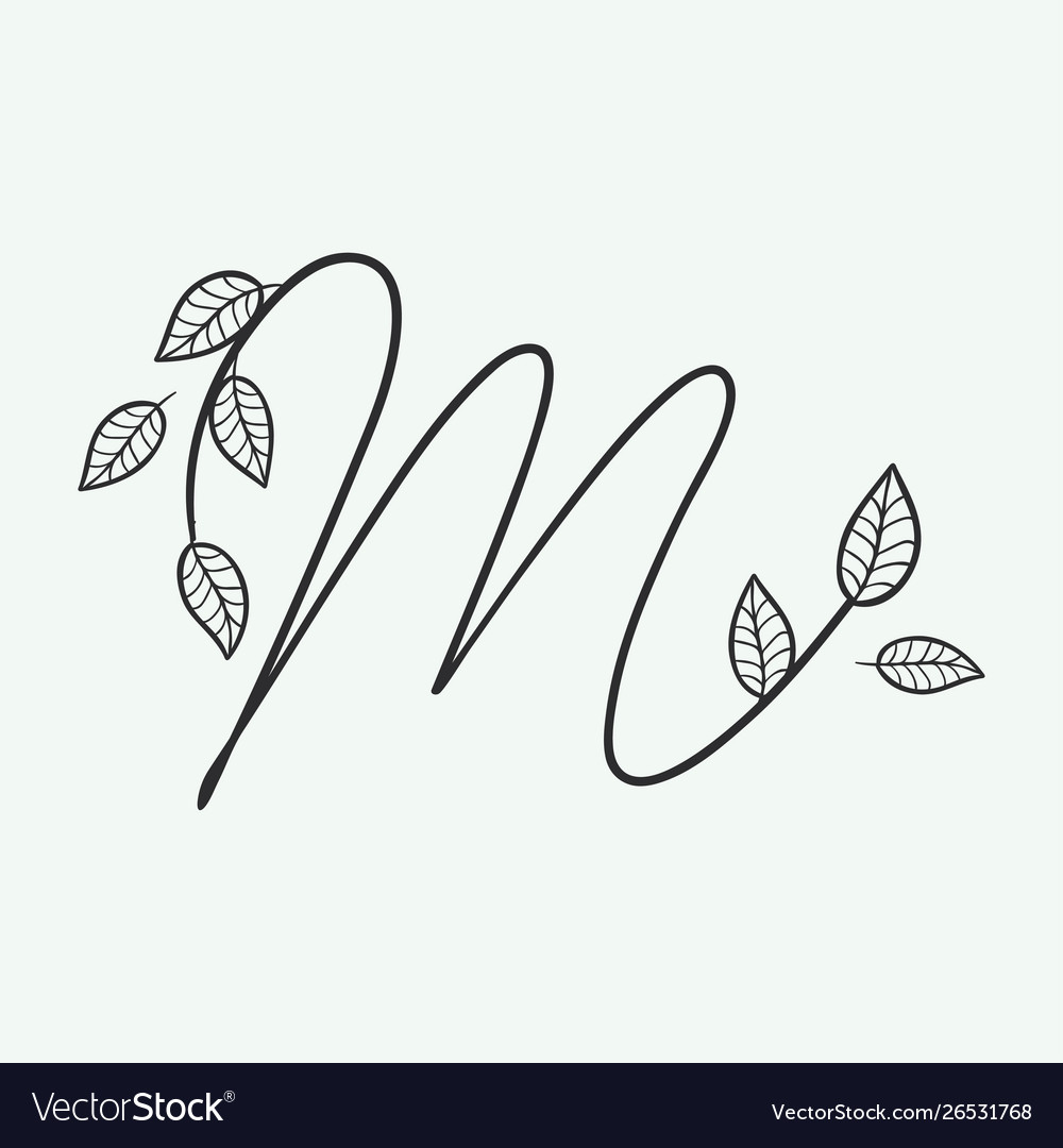 Handwritten letter m monogram or logo brand