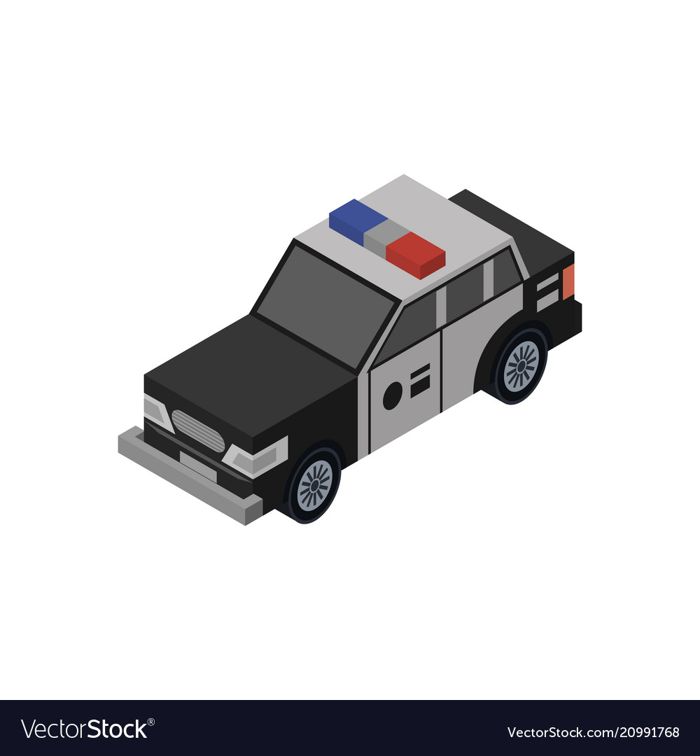 Police Car Isometric 3d Element