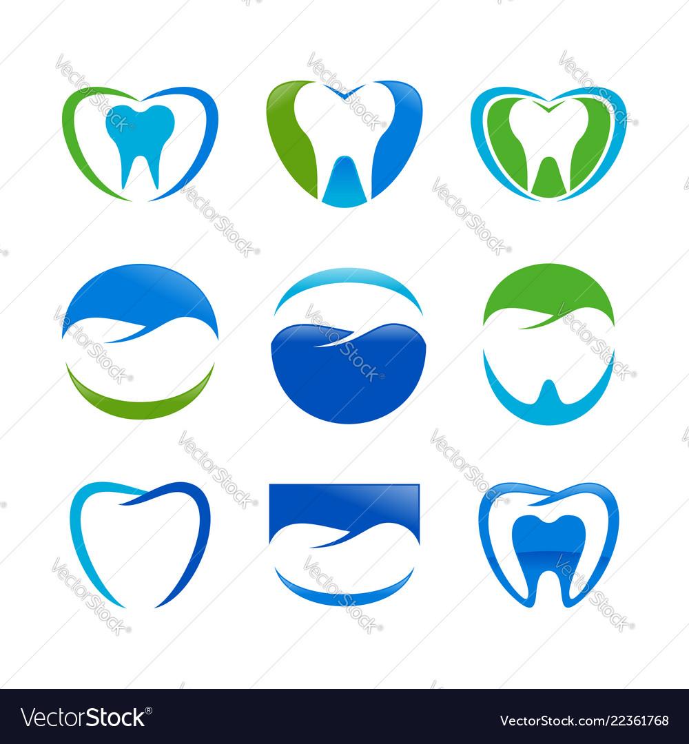 Set dental care symbol design