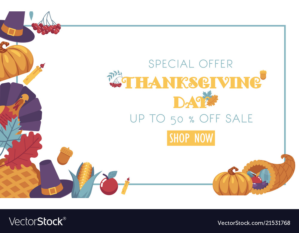 Thanksgiving day promotional banner with