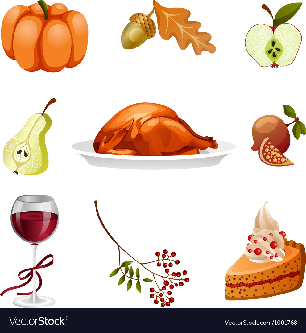 Thanksgiving elements isolated