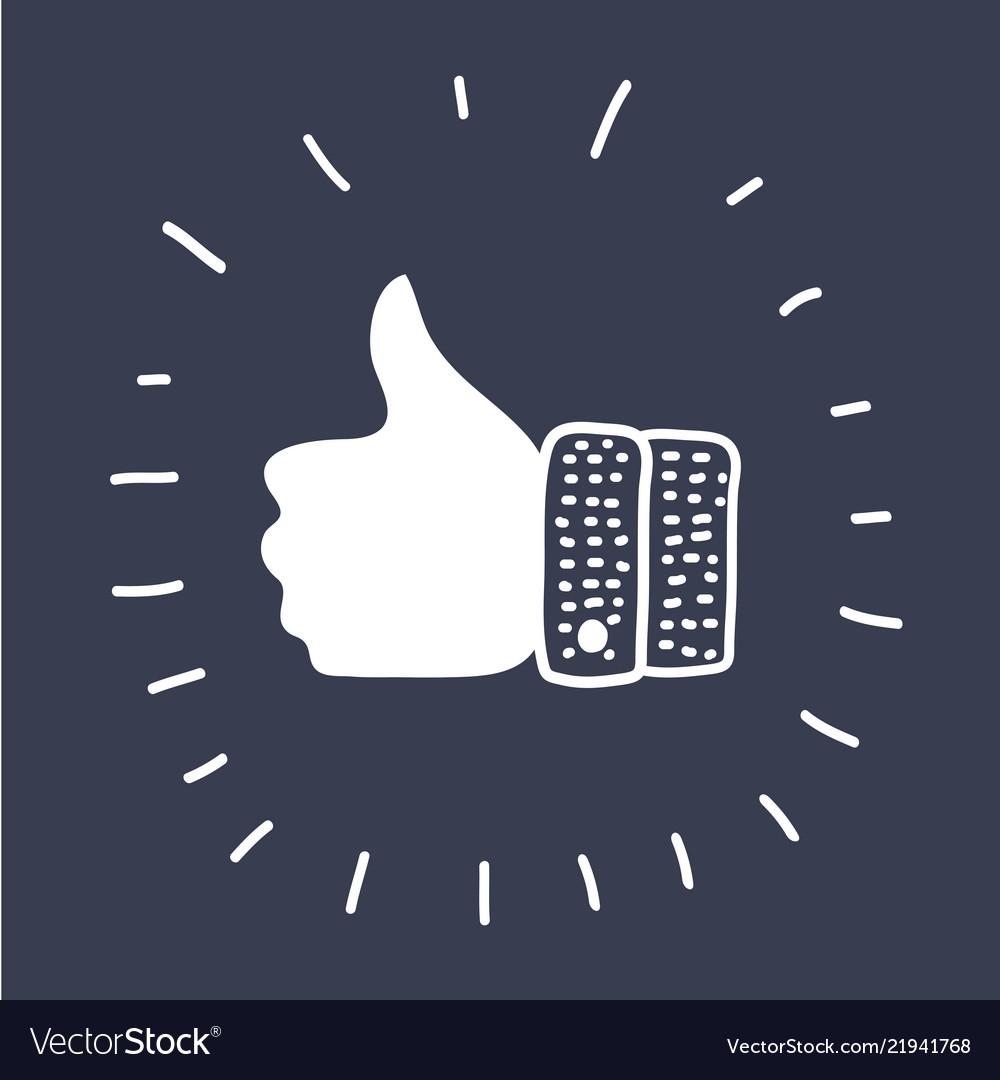 Thumbs up icon on dark background