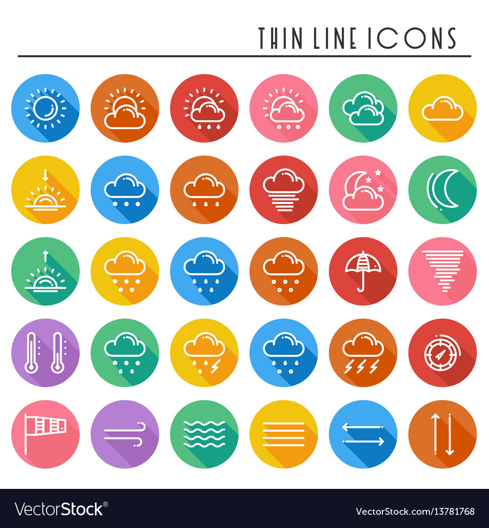 Weather pack line icons set meteorology weather
