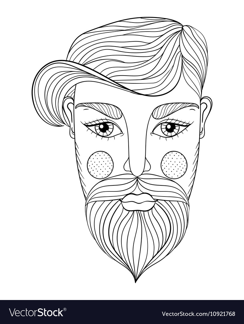 Xentangle Portrait of Man face with