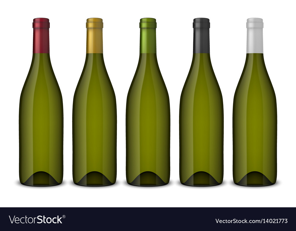 5 realistic green wine bottles without