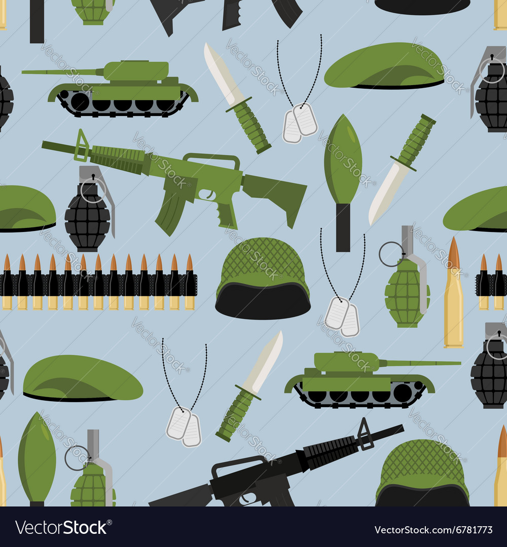 Army seamless pattern Arms background Tanks and