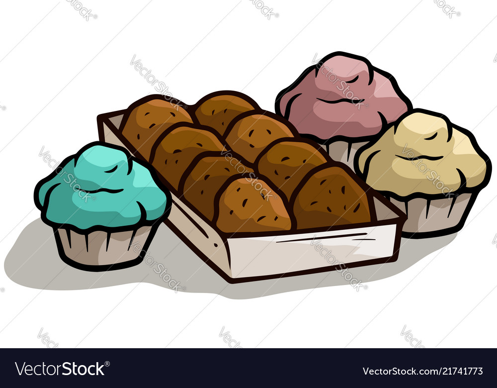 Cartoon chocolate cake muffin in box icon