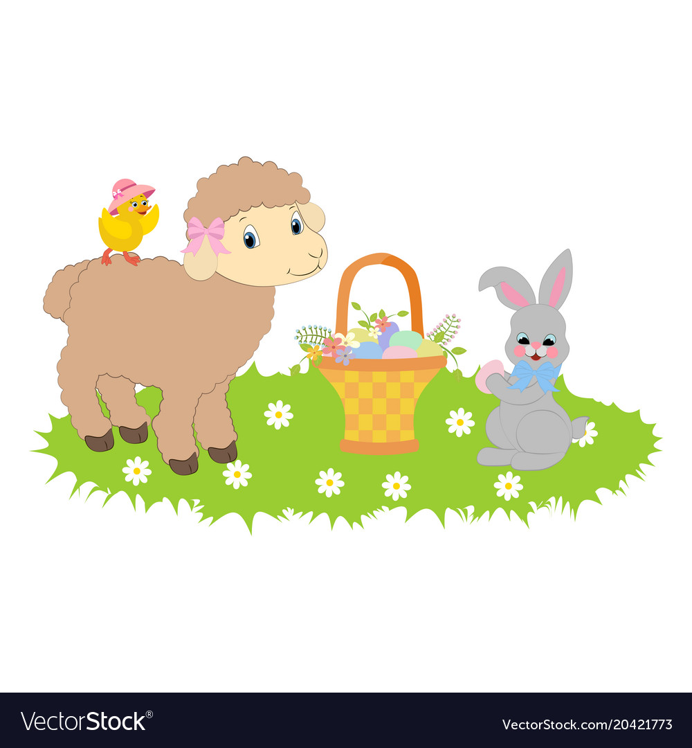 Easter bunny and lamb