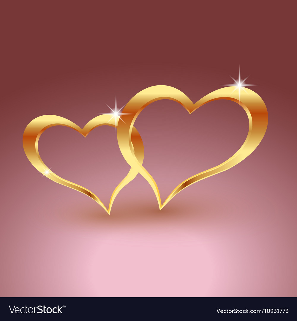 Gold metal heart for Valentine s day Beautiful vector image