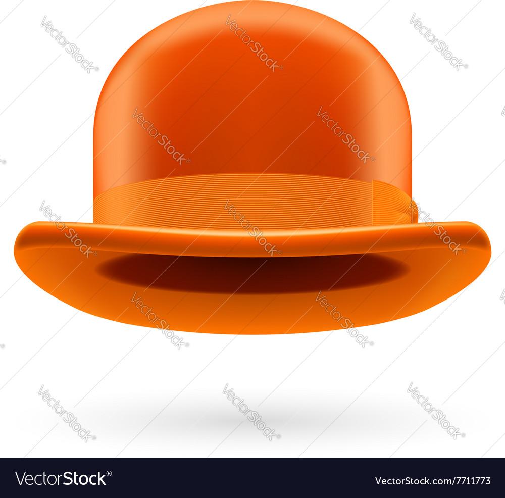 Orange bowler hat Royalty Free Vector Image - VectorStock 58813d229a3