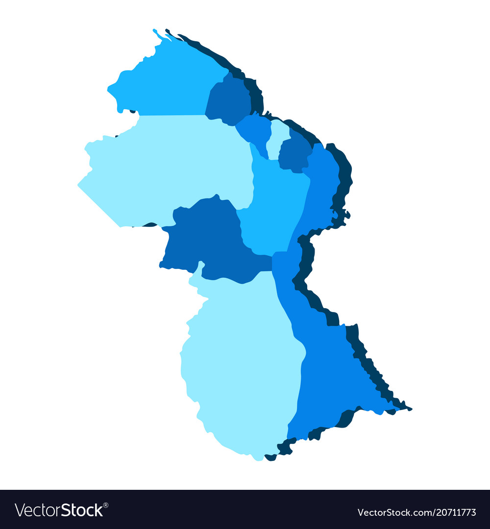Political map of guyana Royalty Free Vector Image