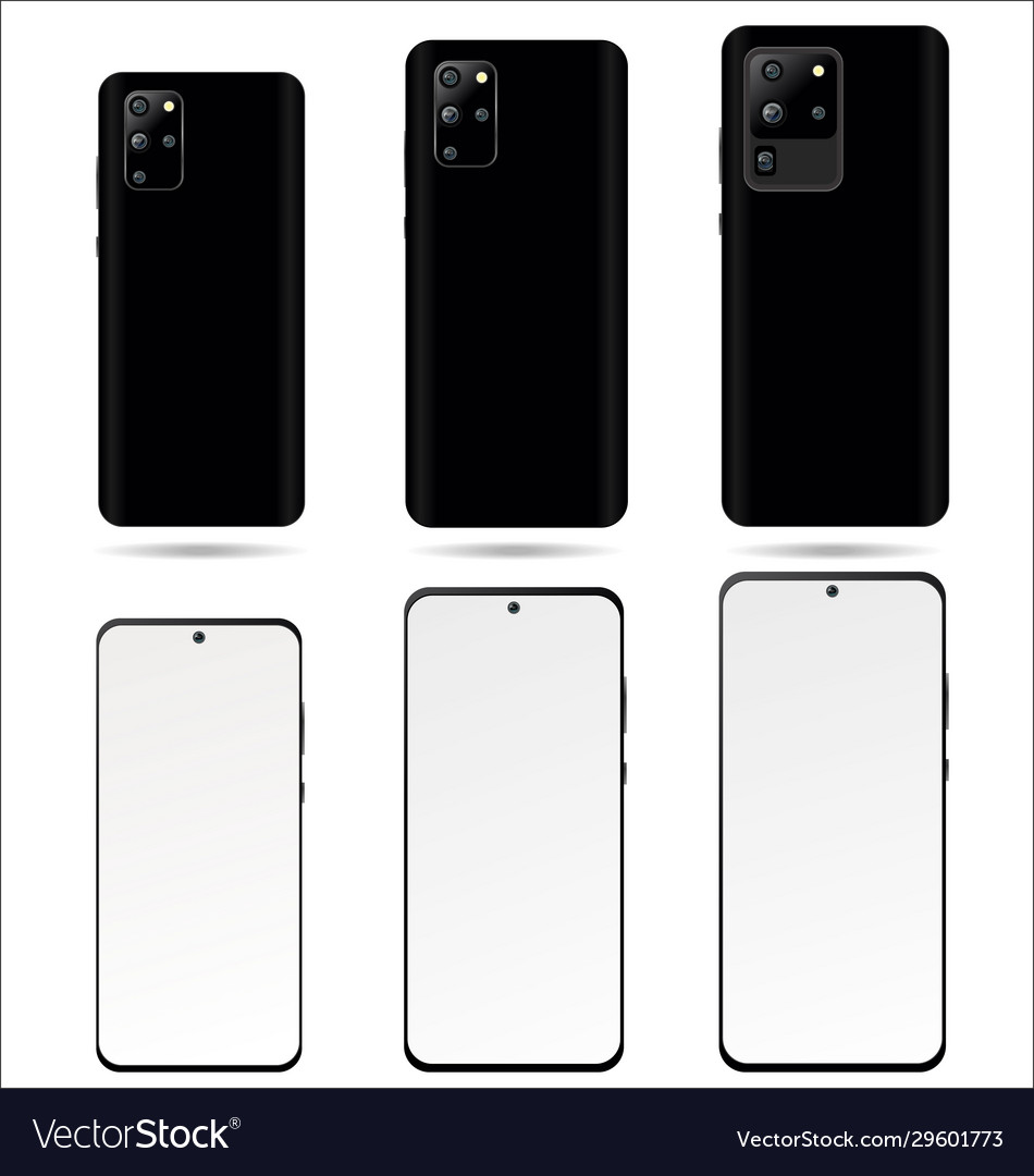 Realistic smartphone with blank screen isolated