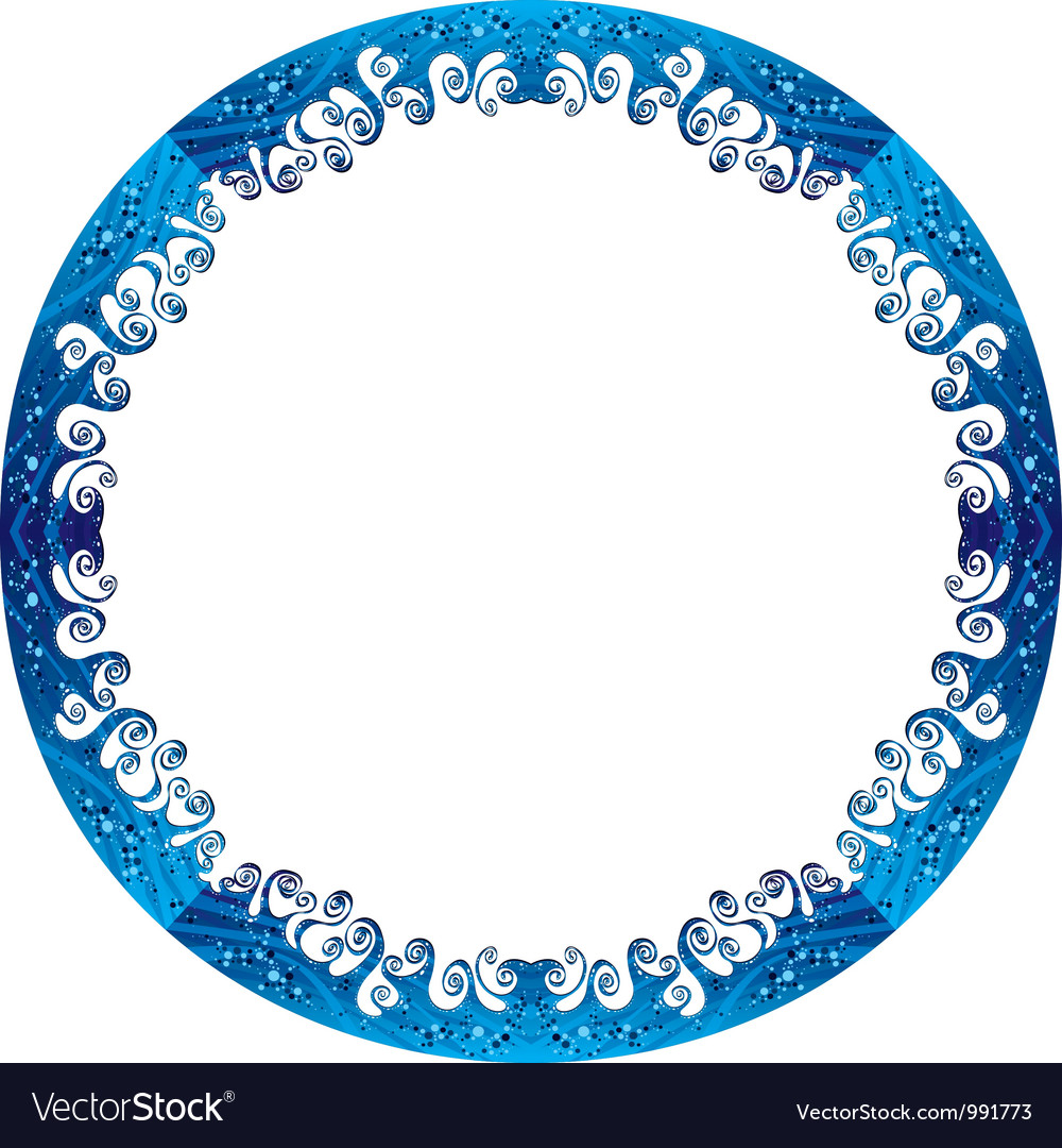 Round frame made of sea waves vector image