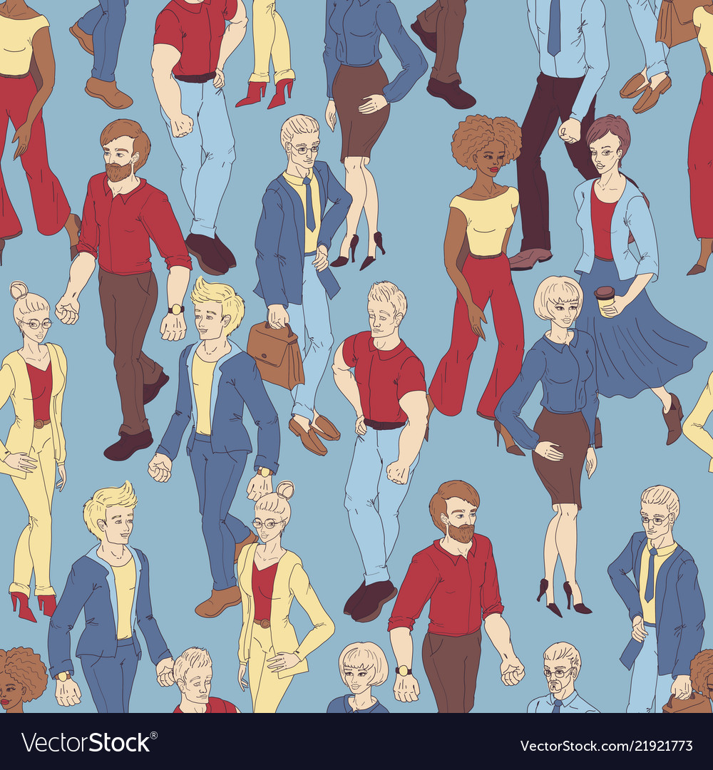 Seamless pattern with business people walking