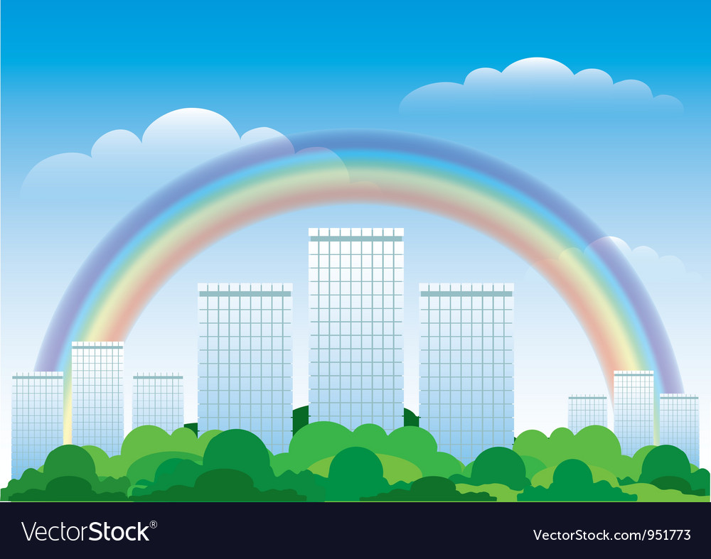 The urban landscape with a rainbow