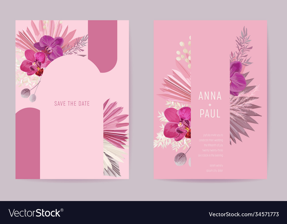 Wedding watercolor floral card dry tropic