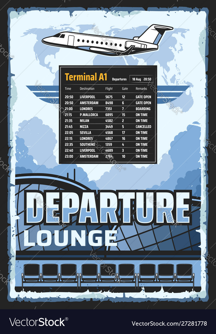Airport departure lounge flights schedule