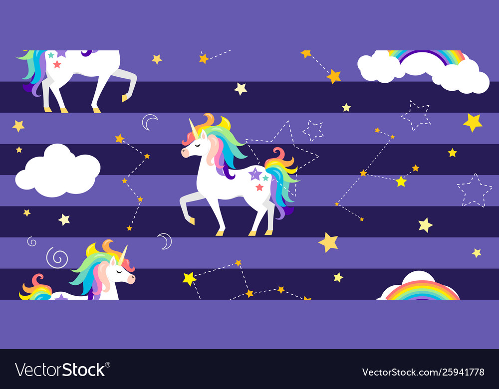 Background with unicorns rainbow