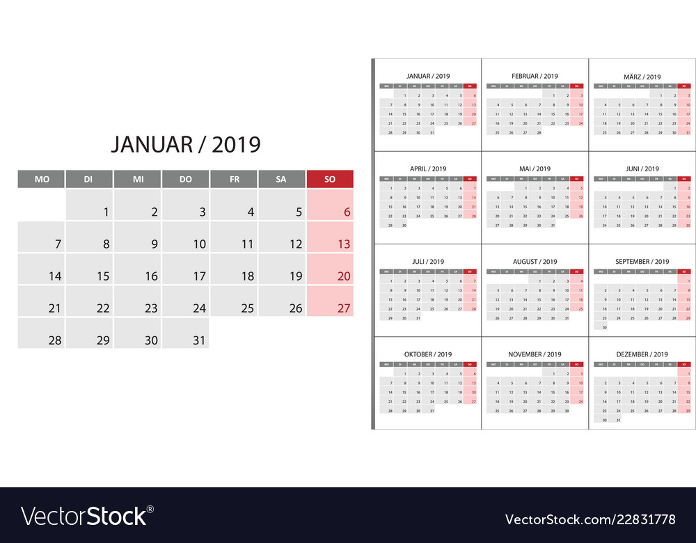 Calendar 2019 Week Start On Monday Royalty Free Vector Image