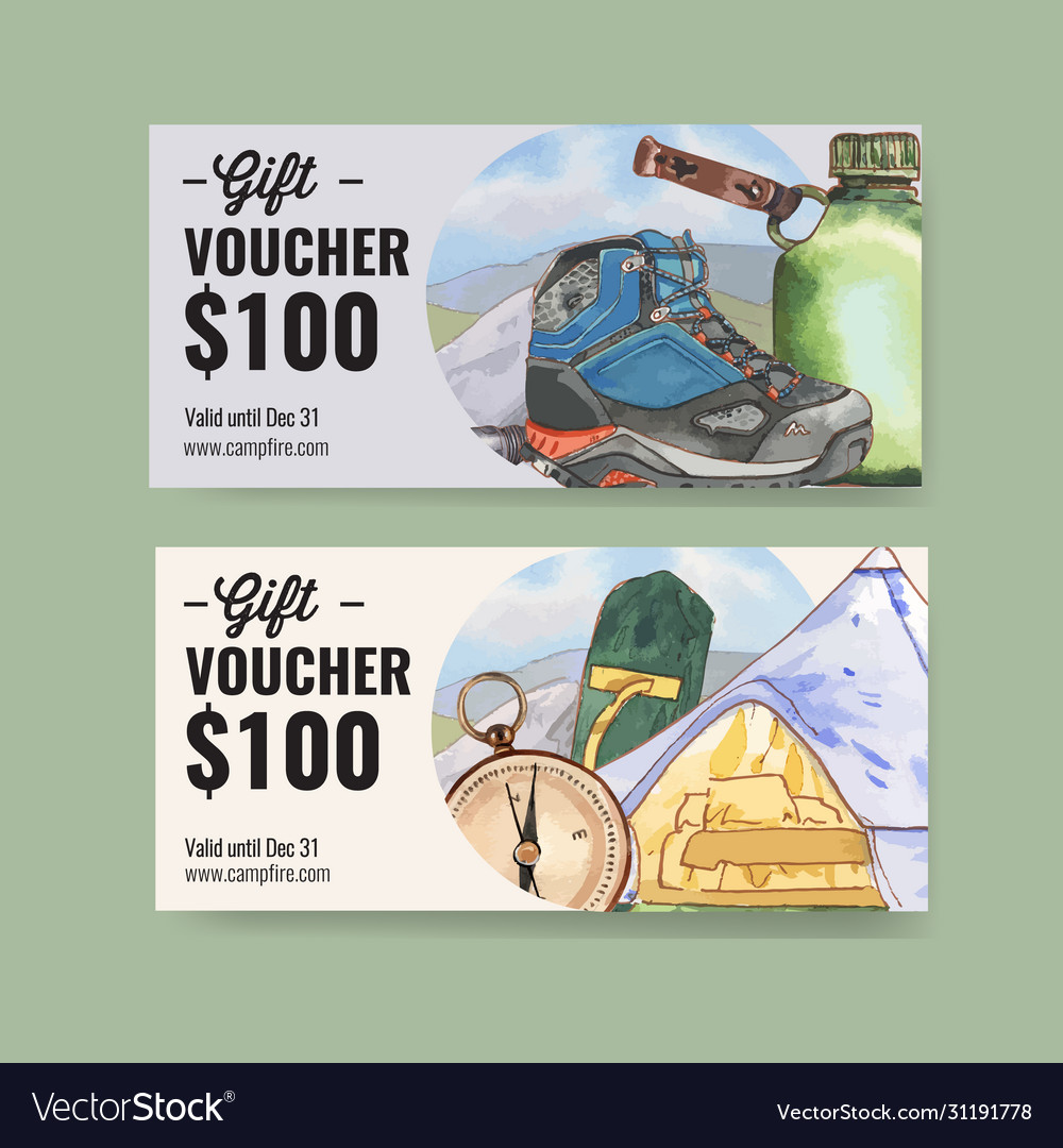 Camping voucher design with hiking boots