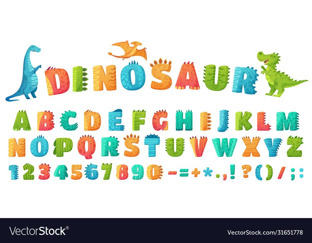 Cartoon dino font dinosaur alphabet letters and