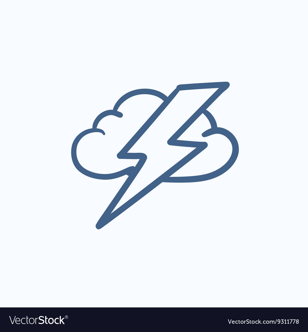 Cloud and lightning bolt sketch icon