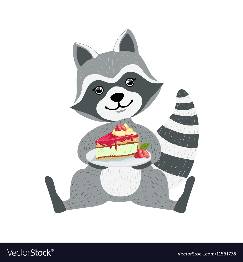 Cute Raccoon Character Sitting With Plate Piece