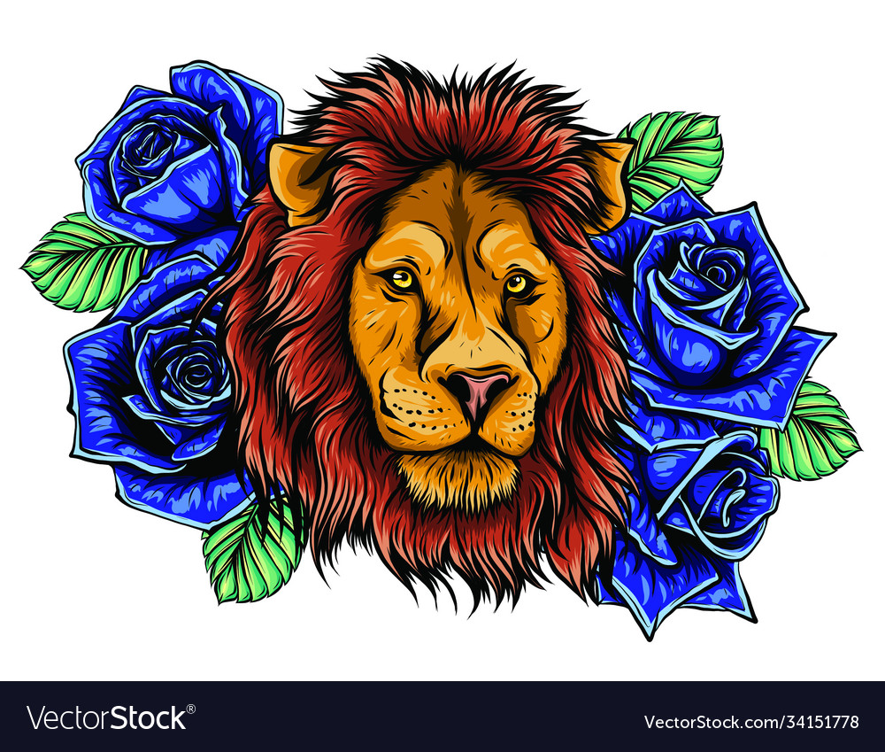 Embroidery colorful pattern with lion and crown