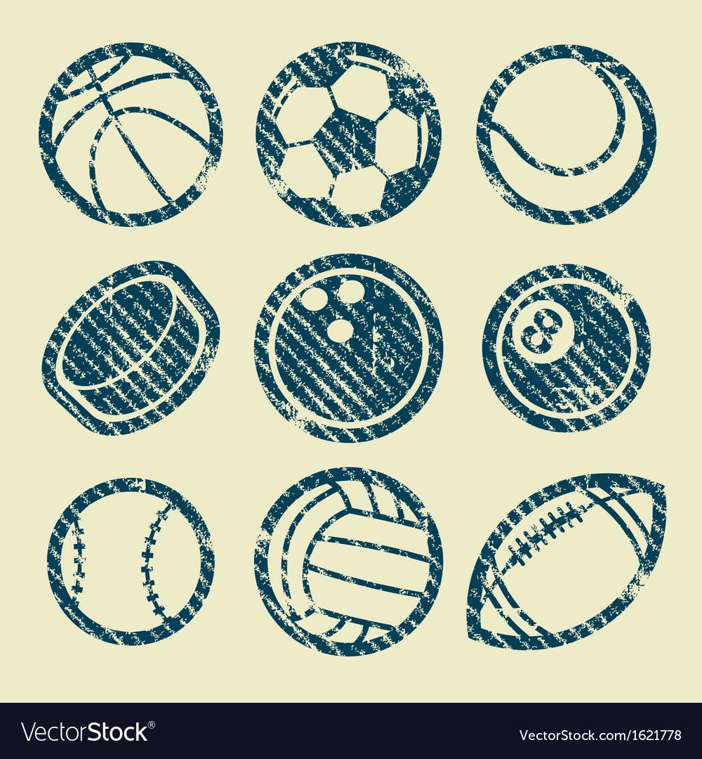 Grunge Sport Balls Stamp Icons vector image