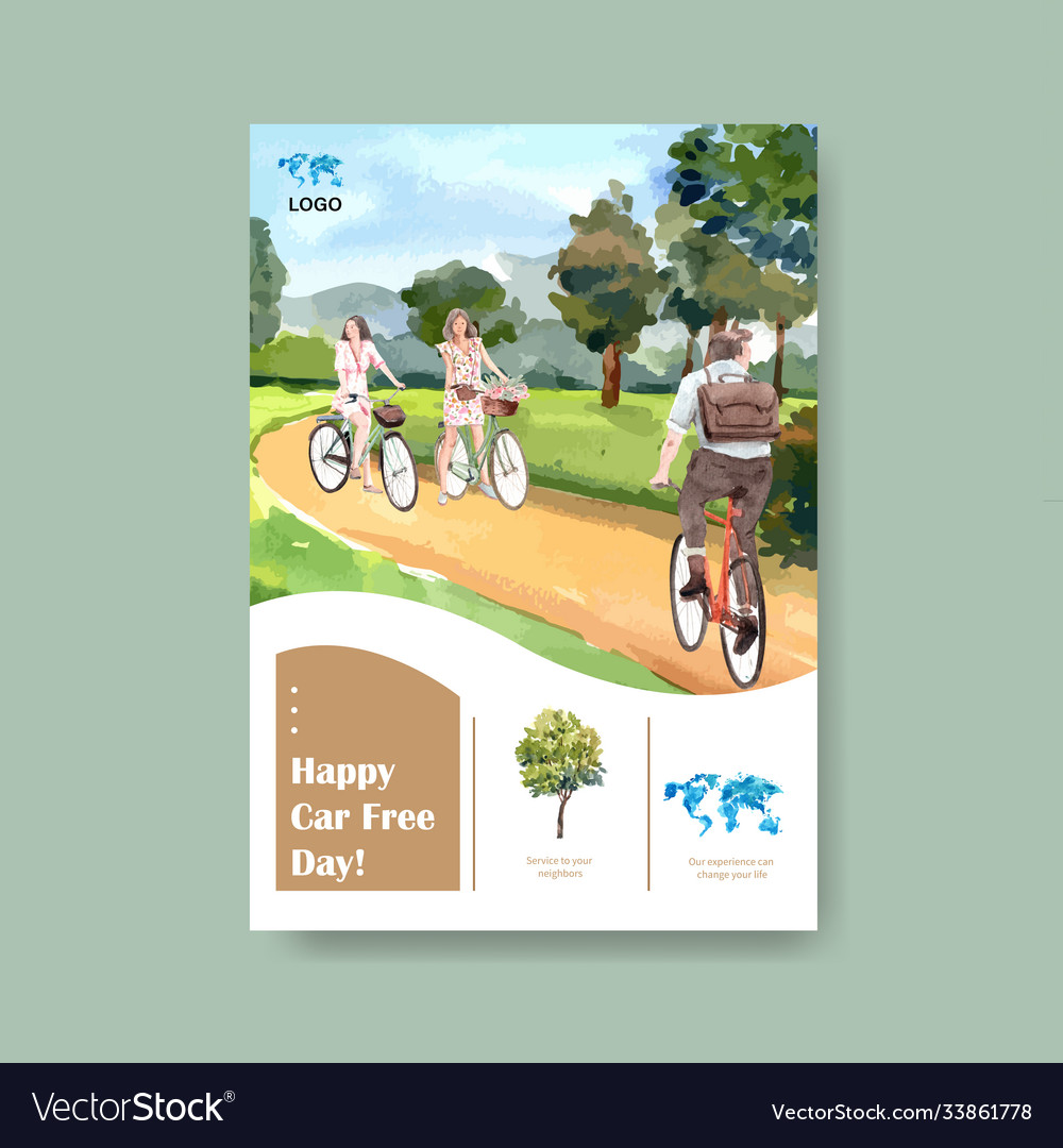 Poster template with world car free day concept
