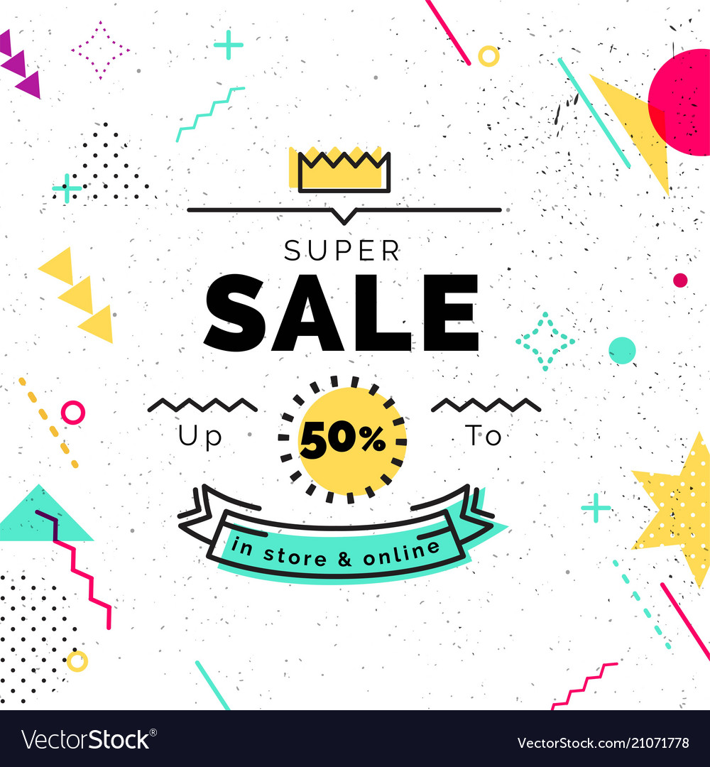 Sale poster with geometric shapes super sale