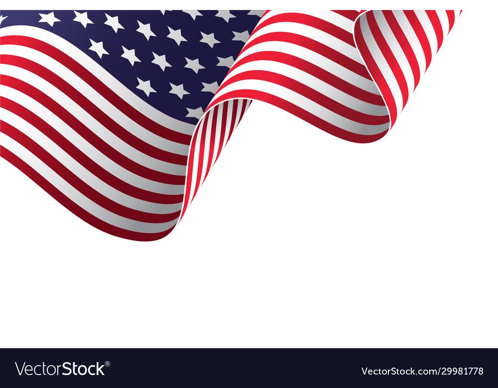 Waving american flag in wind